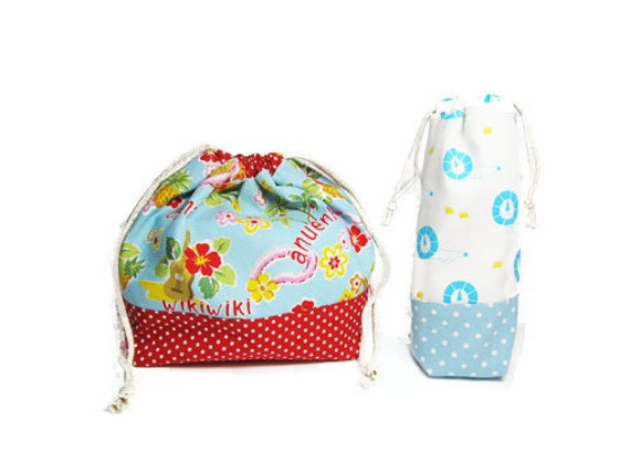 Drawstring Lunch Bag PDF Pattern - Variety set -