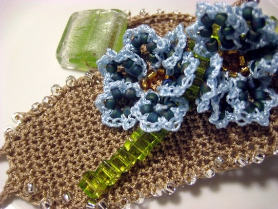 Beaded Flower Crochet Wristband, Bracelet, Cuff