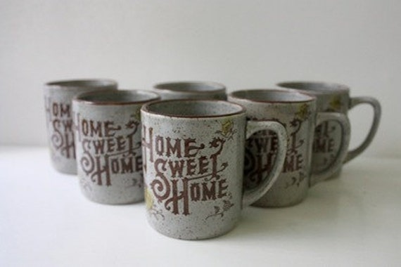 Set of 6 Vintage Home Sweet Home Mugs