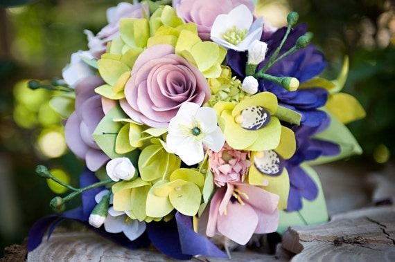 Beautiful Purple and Green Handmade Paper Flower Wedding Flowers Bridal