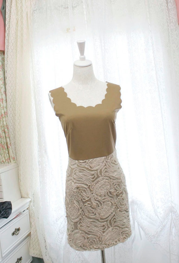 Khaki Lace floral applique cocktail dress wave collar tank dress slim fit geomatric