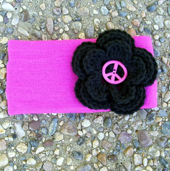 Pink Winter Headband Ear Warmer Peace Black