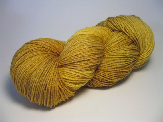 Yarn, yellow superwash merino nylon - Tarnished
