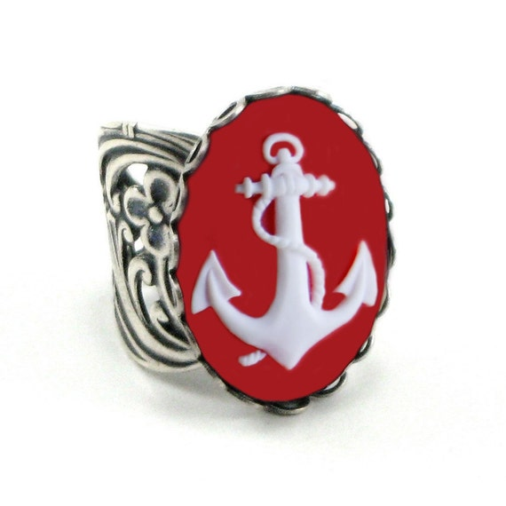 Anchor Ring - Nautical Sailor - White Red Cameo