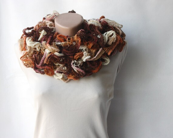 Knit scarf - variegated brown orange ecru  with frilly lace mesh yarn Winter accessories