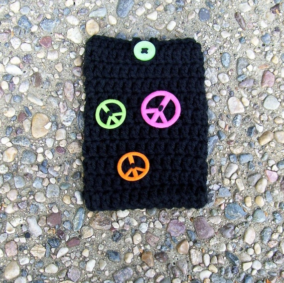 Cell Phone Cozy Case Pouch Crocheted Black Peace Signs