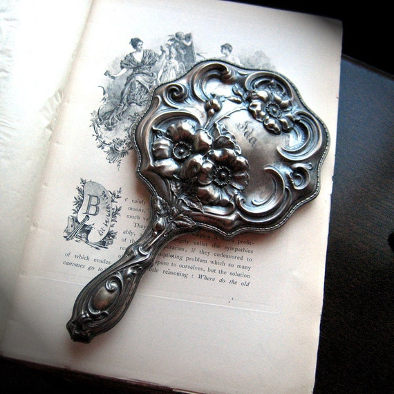 ART NOUVEAU Repousse Silver Hand Mirror Empire Art Antique Vanity Accessory Floral Design 1890s