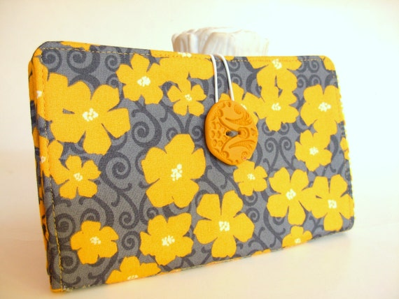Cyber Monday Etsy -Handmade Tampon and Pad Privacy Clutch Mustard Yellow Flowers Slate Gray Fabric Holder - Marigold