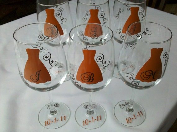Fall wedding, 6 Bridesmaids gift wine glasses in burnt orange and brown