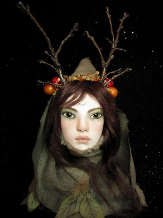 Woodland Witch OOAK Hand-sculpted Art Doll Bust
