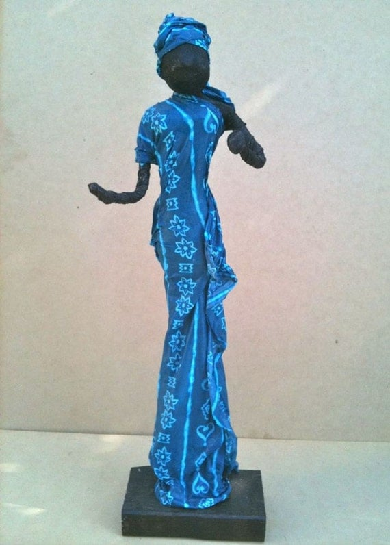 Sculpture for Garden Blue African Figure indoor,outdoors 56cm,22""