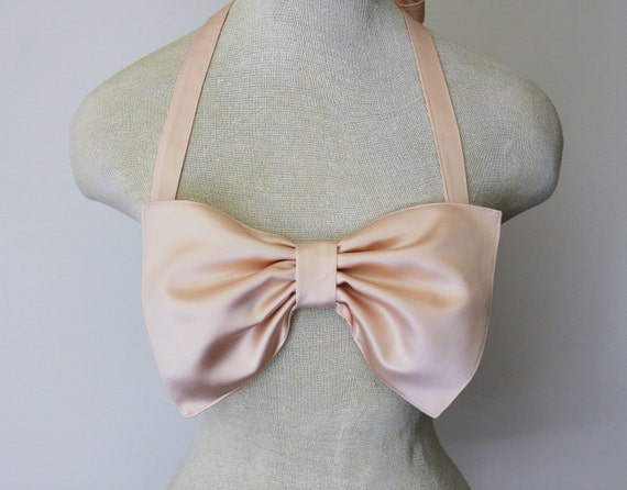Ballet pink satin bow bandeau- Made to order.