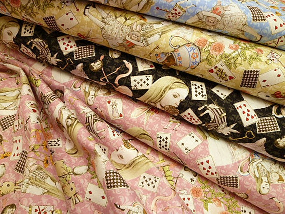 1 yard Alice in wonderland fabric cream white color Japanese fabric