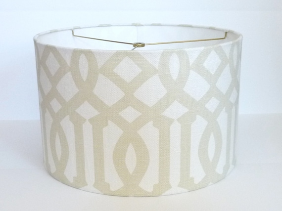 Custom Drum Lampshade in Schumacher Imperial Trellis fabric in Sand