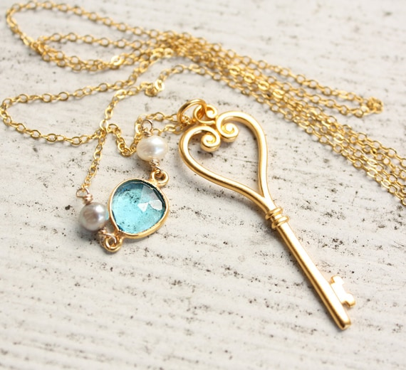 Gold Skeleton Key Necklace - Long Key - Romantic Key Necklace