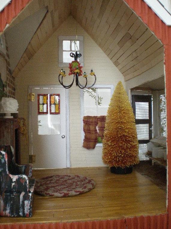 Примитивные тыквы Saltbox Дом с курятник Custom Dollhouse