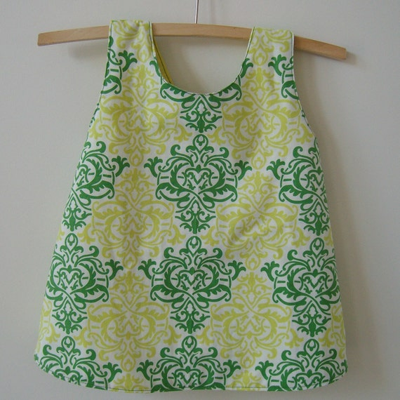 Baby sunfrock size 1, ecofriendly upcycled fabrics handmade green and yellow ready to ship