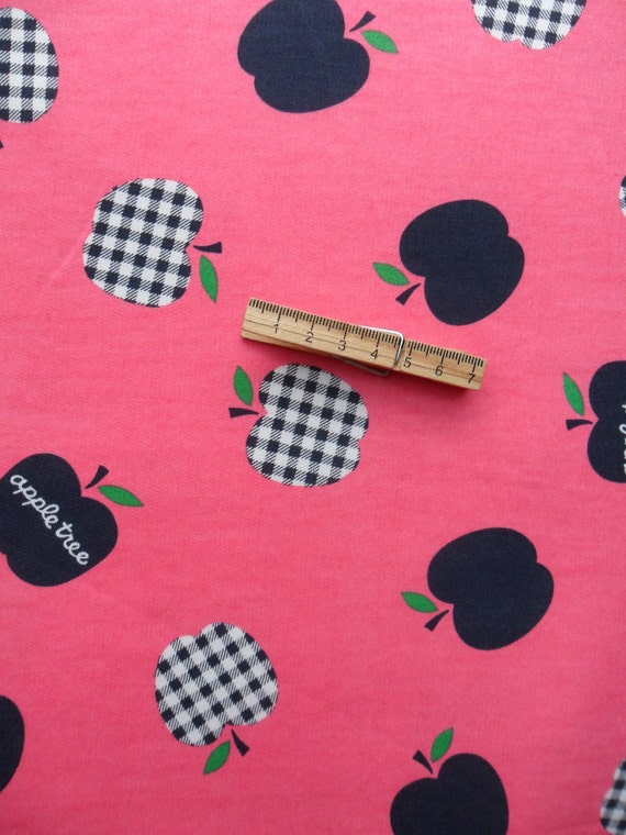 Apple Tree Sweatshirt Fabric -  Printed KNIT- 100% Cotton Loopback Jersey (Lightweight Sweatshirting) - 1 Yard