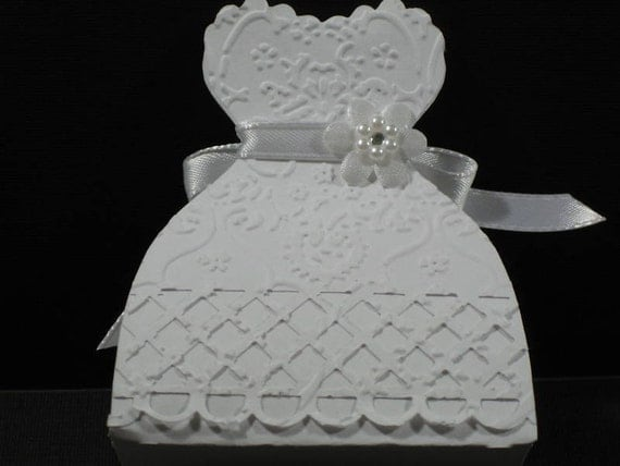 25 Embossed Bride Dress Wedding Favor Boxes