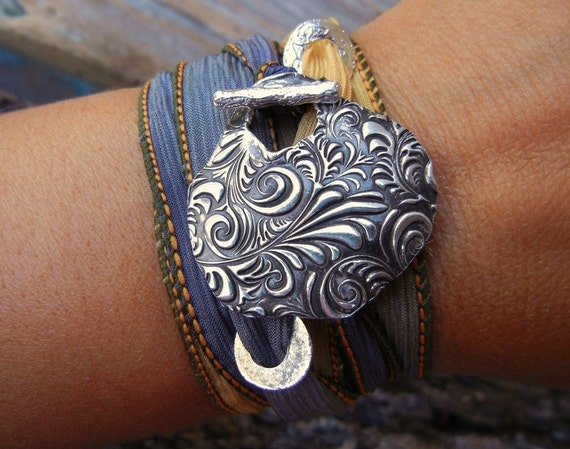 Artisan Jewelry, Sterling Silver n Fine Silver Bracelet, Hand Made Jewelry, Artisan Bar Toggle Silk Wrap Bracelet, Floral Engraving Design