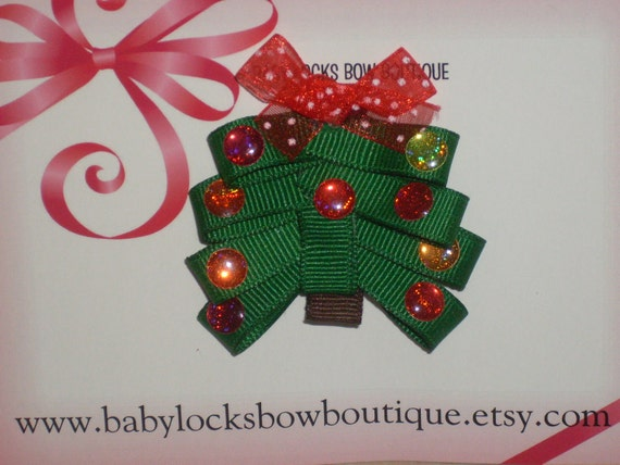 Christmas Tree Hair Clip with Crystal Ornaments Baby/ToddlerGirl/