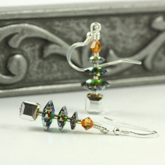 Holiday Jewelry Tree Earrings Topaz Silver Iridescent Christmas Tree Swarovski Crystal Holiday Jewelry