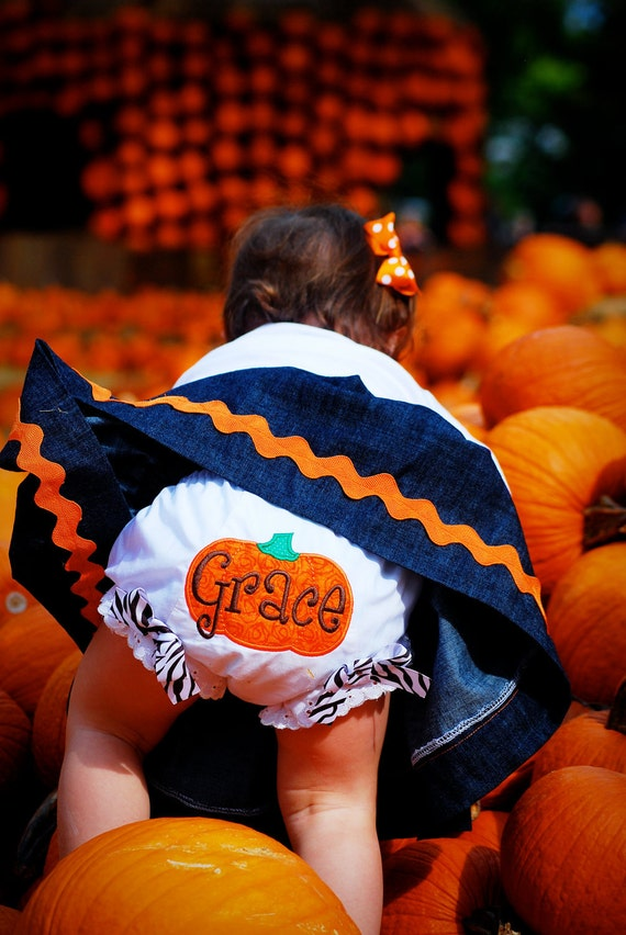 Personalized Machine Applique PUMPKIN BLOOMERS Diaper Cover Baby Toddler