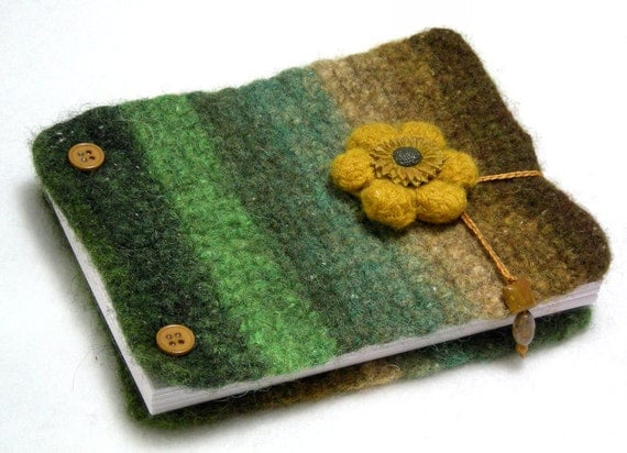 Inspiration book, post bound blank journal, felted wool covers, write - sketch - doodle - photos, green - gold - brown