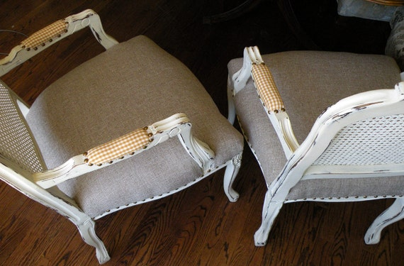 French Cane Chairs White Painted Upholstered Linen Pair of Bergere Chairs