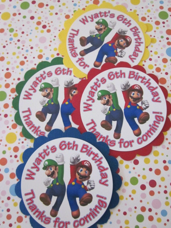 Super Mario inspired Birthday Party Favor loot bag goodie Tags with Free coloring page
