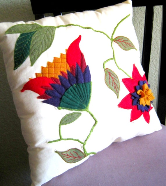 "Felt Applique and Embroidered Decorative Pillow ""The Flower Patch Series"" 15 x 15"