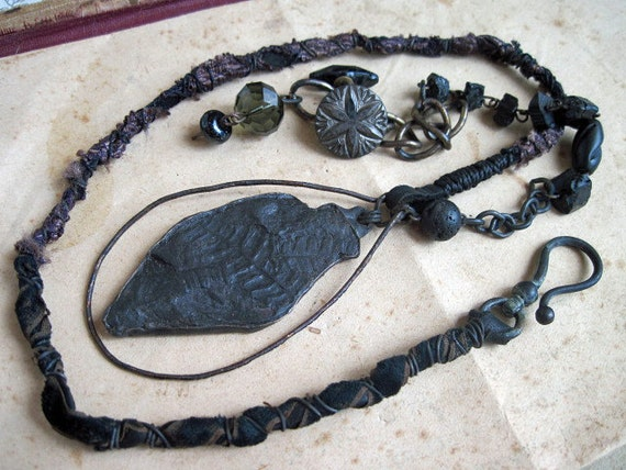 Carboniferous. Rustic Soldered Fossil Necklace.