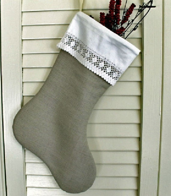 Christmas Stocking from The Linen Collection Flax with vintage lace cuff lined 16 in. long