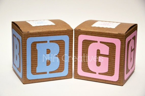 "Baby Block Baby Shower Favor Box - 3x3x3"" Kraft Gift Box - set of 12"