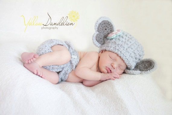 Chunky Elephant Hat with Detachable Flower and Multi-size Diaper Cover