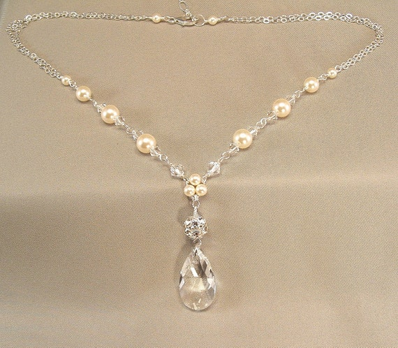 Sterling Silver Ivory Pearls and Swarovski Elements by Handwired from etsy.com