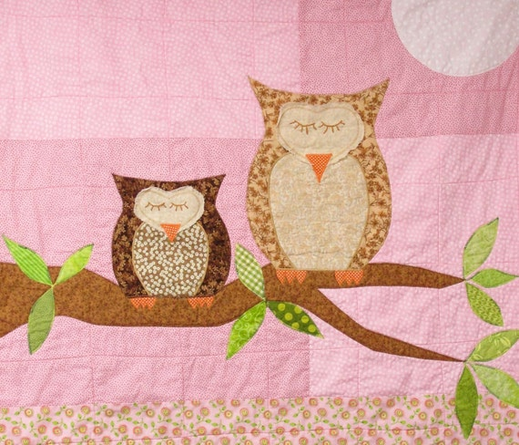 "Owls baby quilt in pink, green and brown ""How Big is the Sky"""