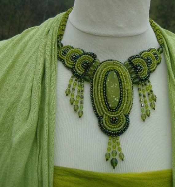 Nymph - Bead Embroidered Necklace And Earrings