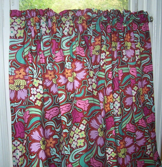 Custom Curtains using Soul Blossom-Chocolate by Amy Butler