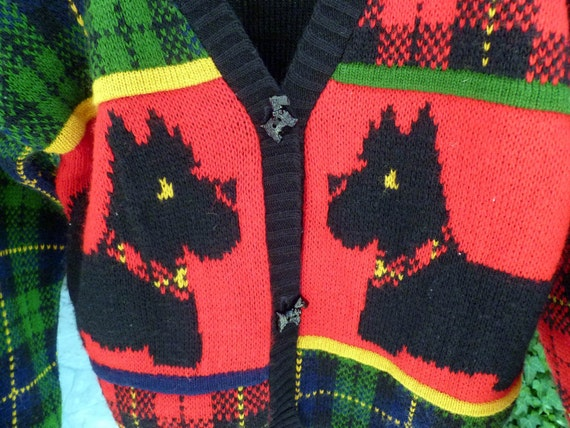 Scotty Dog and Tartan Plaid Sweater, Size Medium 10/12