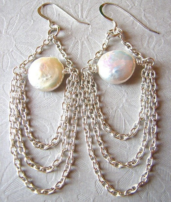Freshwater Pearl Earrings, Vintage Wedding Jewelry, Silver Chandelier Earrings, Bridesmaid Jewelry
