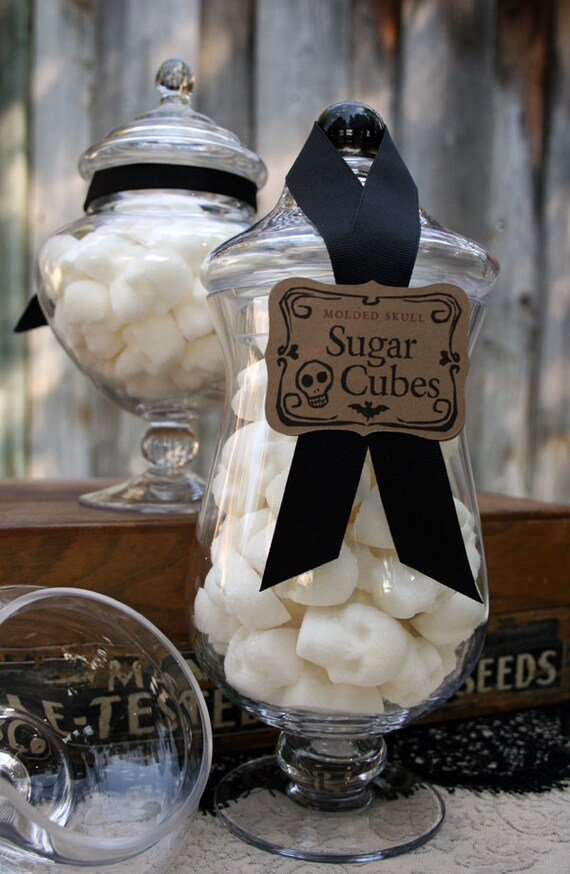 Apothecary Jar - 60 Skull Shaped Sugar Cubes - Tall Curvy Jar