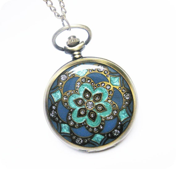 Cloisonne flower pattern Pocket watch Locket Necklace, with many crystal and a bird