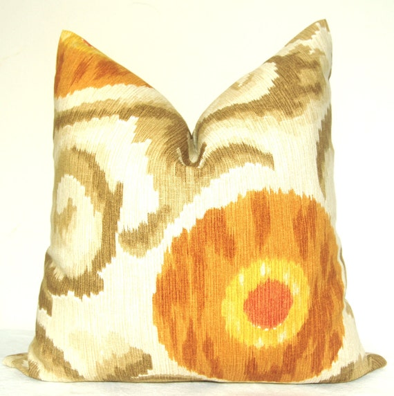 Pillow Cover - Deocrative Pillow - Throw Pillow - Sofa Pillow - Kravet - Ikat - Suzani - BOTH SIDES - 20x20 in - Linen - Pumpkin - Taupe