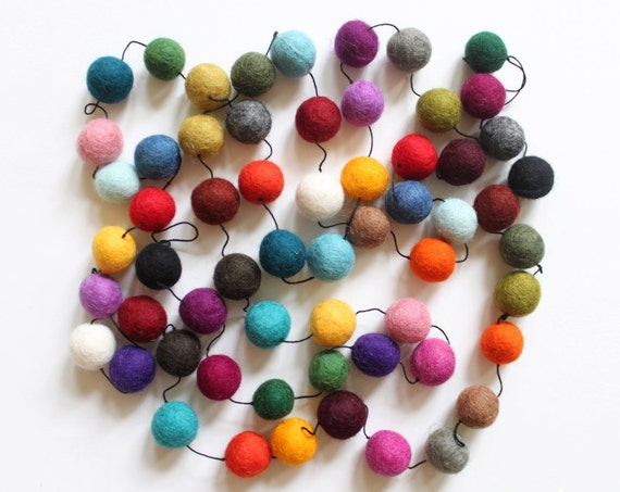 felt beaded GARLAND, bunting  - multicolored