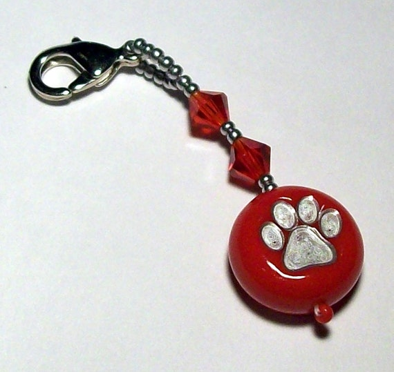 Paw Print Polymer Clay Bead Zipper Pull/Purse Charm