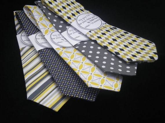 Happy When Skies are GreY /(4 years - 6 years)/  Grey & Citrine newborn toddler necktie collection  U choose style by Bubba Mae