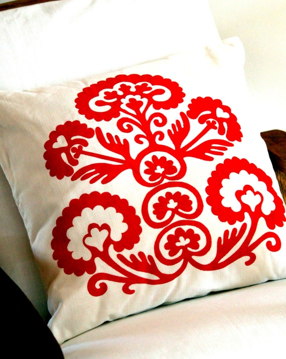 Tribal - Red on White - Scatter Cushion 50x50cm