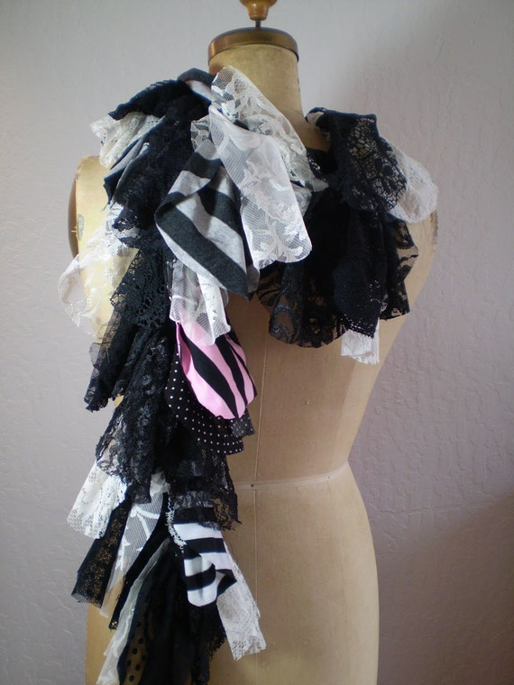 Circle Scarf Fluffie Tattered  Long Multi colored Stipes And Lace Upcycled Fabric