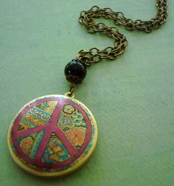Art Locket Necklace-Groovy Multi Color Peace Sign-h203